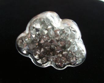 """Blown glass filled with mini rhinestones very shiny ring """"Cloud"""""""