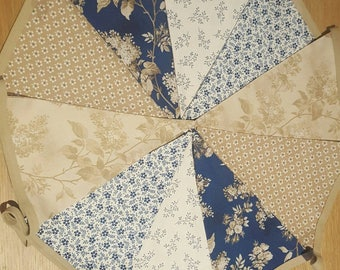 Blue/Cream Floral Bunting