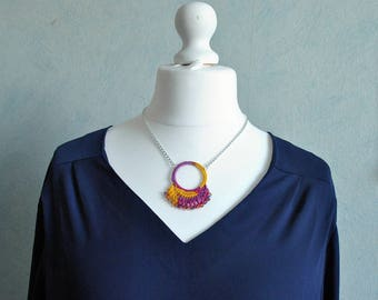 Purple yellow pink India cotton crochet necklace
