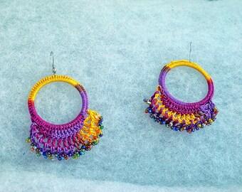 Purple yellow pink India, cotton jewelry dangle earrings