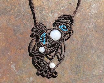 Macrame necklace with three moonstones
