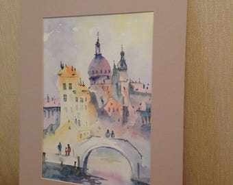 City watercolor drawing