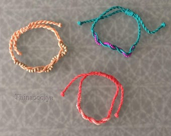 Cotton bracelet and beads
