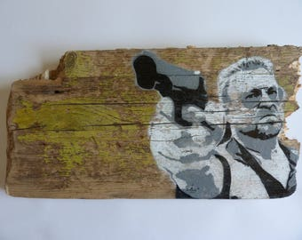 painting on wood, The Big Lebowski Walter