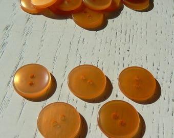 vintage orange button translucent diam 18mm 50-70 years