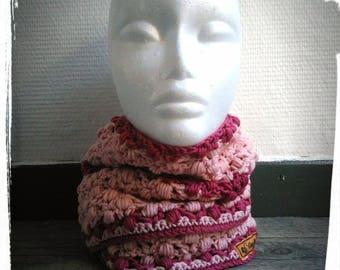 snood doubled woman crocheted 100% Merino Wool