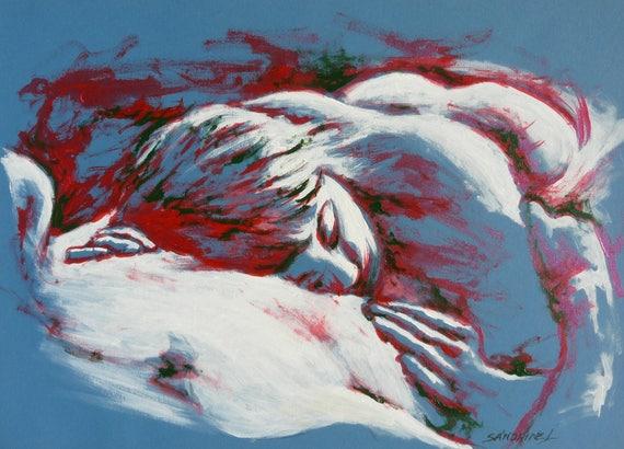 C lin tableau couple nu allong peinture amoureux homme for Tableau pour chambre romantique