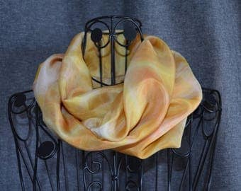 snood made with a p9 painted scarf by hand