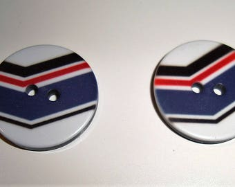 Round resin button stripes blue red black white - 2 holes - 20 mm - sewing - knitting - Scrapbooking