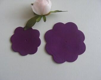 leather flower purple color 8.5 and 6 cm diameter 2 appliques