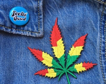 Rasta Weed Iron on Patch // FREE US SHIPPING