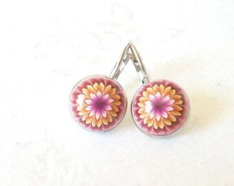Stud Earrings, multicolor flower.