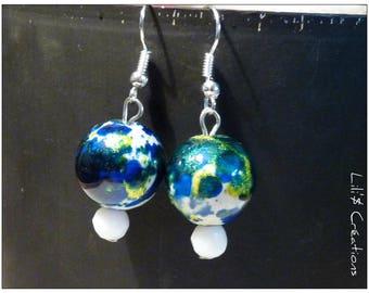 Bright blue white Pearl Earrings