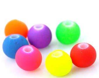 Set of 30 neon acrylic round beads mixed 6 mm