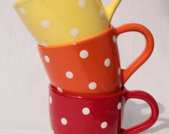 Handmade Hand Painted Ceramic mug red and white polka dots cottage style