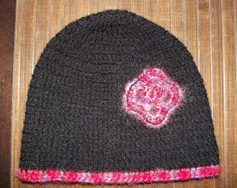 Black and pink crochet acrylic Beanie