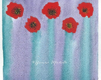 Poppies No. 005 - Original Watercolor Painting, Floral, Art, Wall Decor