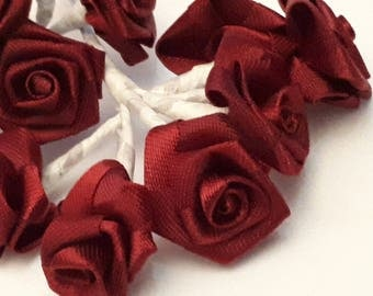 set of 12 large 25 mm 10 cm long plum Burgundy fabric flowers