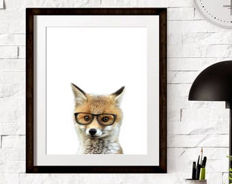 Glasess Fox Cubs Prints - Safari Animals - Nursery Decors - Wall Decors - Nursery Baby Room - Baby Animal -PRINTABLE- Baby Fox - Wall Print