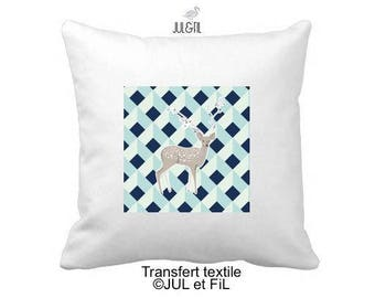 Textile transfer fusible geometric Scandinavian deer