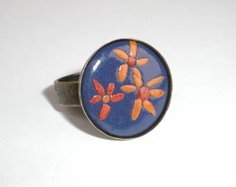 Floral blue summer round ring