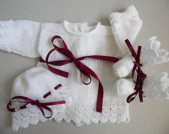 Whole jacket, bonnet booties + a gift