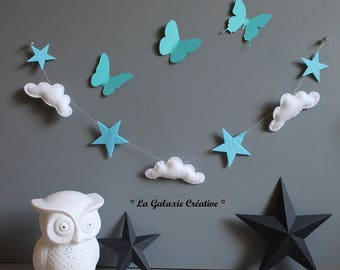 Garland clouds and blue stars