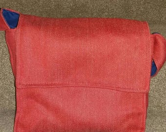 Handmade red wool messenger style bag