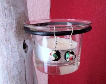 Black cloisonne beads earrings
