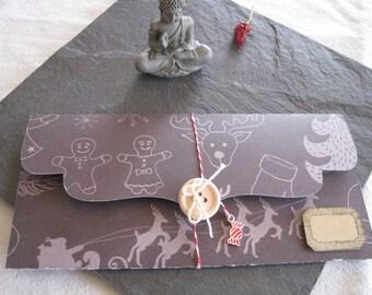 Gift box, ticket, Christmas, reindeer, Santa, kraft tag