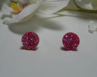 """""""Meteorite"""" red 12 mm rhinestone Stud Earrings"""