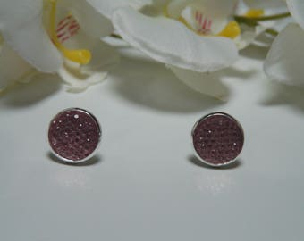 Old rhinestone pink earrings made from a resin Cabochon