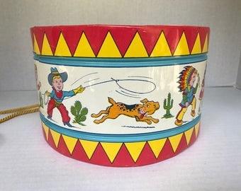 Large Western Vintage J Chein Tin Litho Large Child's Drum 1950's