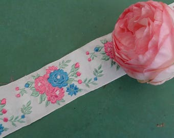 Ribbon 3 yards 15 vintage French white woven with pink, blue and green embroidered flowers. Old Ribbon. Hat accessory. baptism accessory