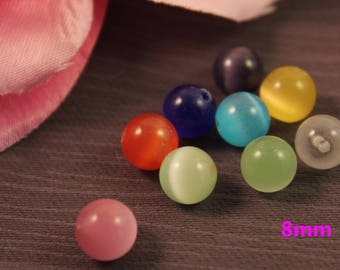 Lot 10 8 mm mixed color cat eye beads