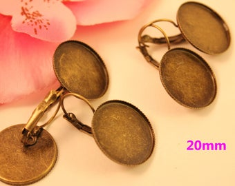 10 pairs of lever back earrings bronze round for cabochons 20mm