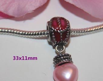 "1 silver heart bracelet style ""Pandora"" - SC44916 - pink acrylic bead"