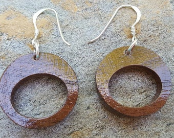 Handmade Natural Wood Earrings - Black Walnut + Bubinga
