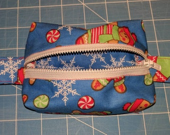 Gingerbread and snowflake boxy pouch