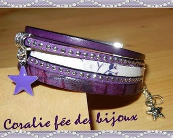 printed leather Cuff Bracelet, simple leather, suede studded charm purple etoile.tons epoxy