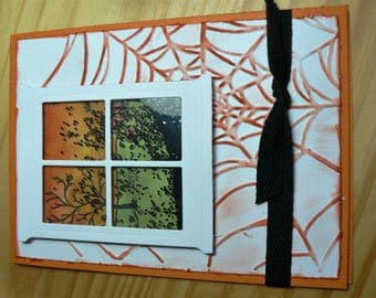 card window with Spider Web Halloween party