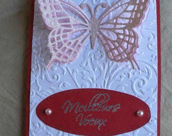 map double butterflies on red background