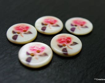 Lot de 5 boutons en nacre 18 mm