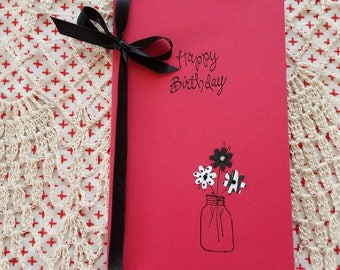 Friend birthday card, red and black