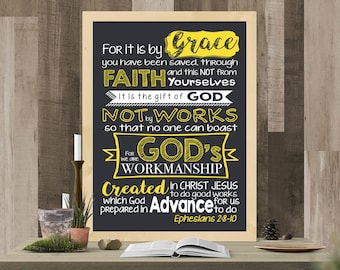 Ephesians 2:8-10 Printable Poster Art, Instant Download