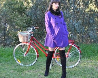 VINTAGE purple winter coat with black faux fur collar