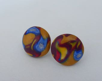 Stud Earrings round printed textile Burgundy blue yellow