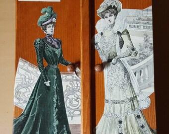 Large box with keys 2 doors tinted oak N 428 prints fashion 1900