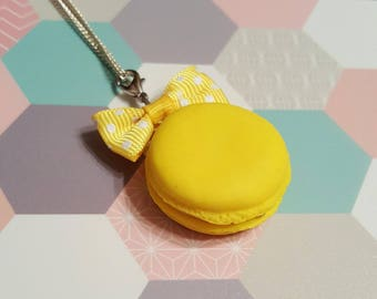 Macaron in polymer clay lemon necklace