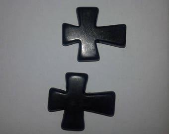 set of 2 beads believe howlite black 3.6 CM X 3 CM